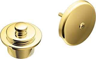 Moen T90331P Push-N-Lock Tub and Shower Drain Kit with 1-1/2 Inch Threads, Polished Brass