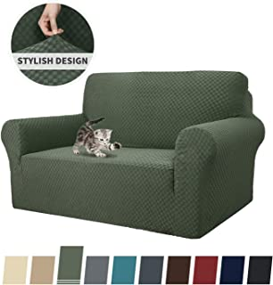 MAXIJIN Newest Jacquard Sofa Covers for 2 Cushion Couch, Super Stretch Non Slip Love Seat Couch Cover for Dogs Pet Friendly Elastic Furniture Protector Loveseat Slipcovers (Loveseat, Army Green)