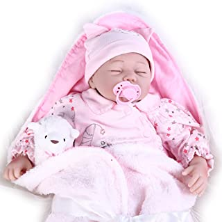 Pompon Realistic Baby DollS Toys Lifelike Reborn Baby Dolls 22 inch Newborn Baby Doll Girl Playmate Birthday Gift Silicone Baby Doll with little Toys