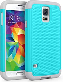 Galaxy S5 Case, SYONER [Shockproof] Hybrid Rubber Dual Layer Armor Defender Protective Case Cover for Samsung Galaxy S5 S V I9600 [Turquoise]