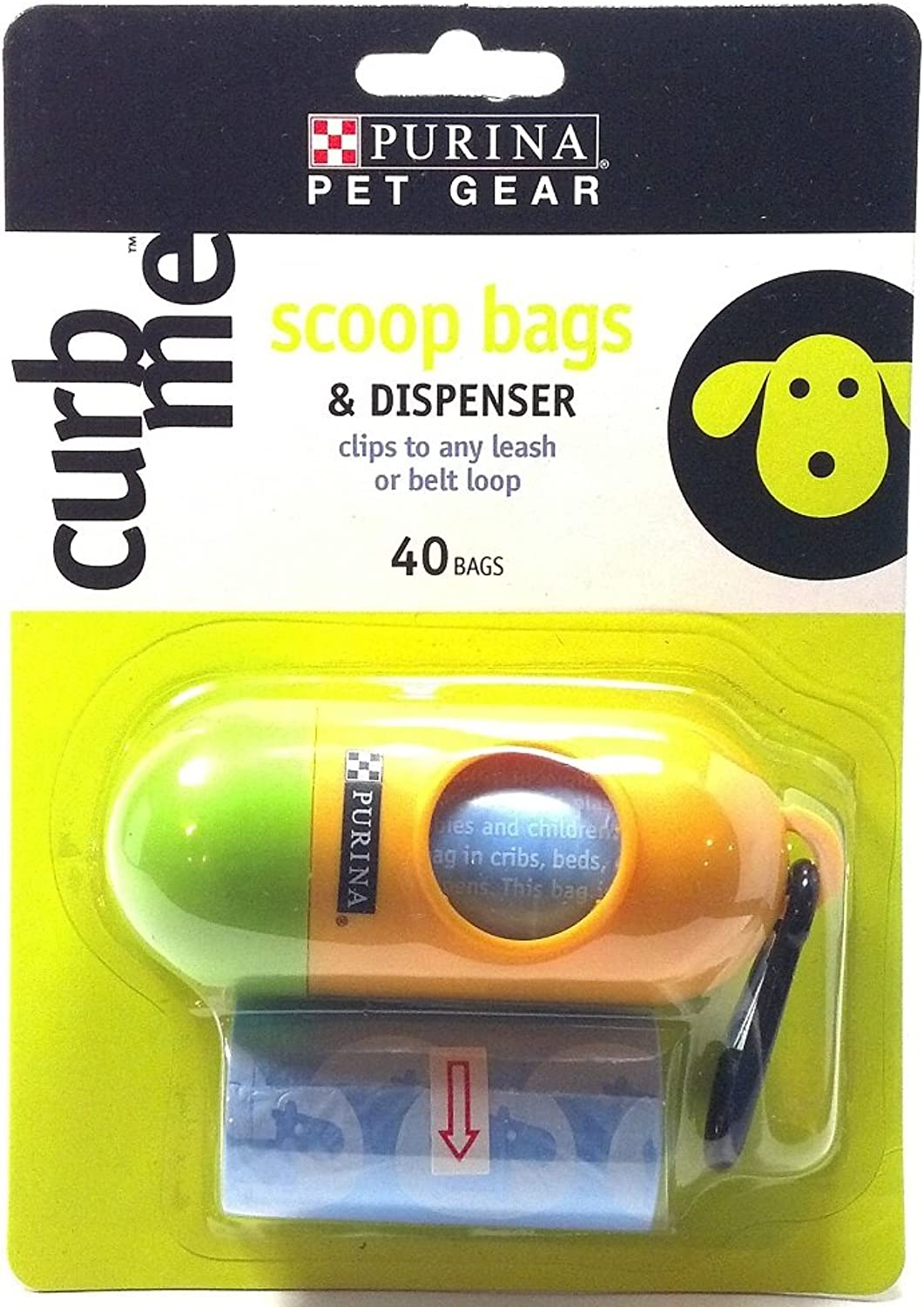 Purina Pet Gear Curb Me Scoop Bags and Dispenser Clips to Any Leash or Belt Loop 40 Bags (1 Each)