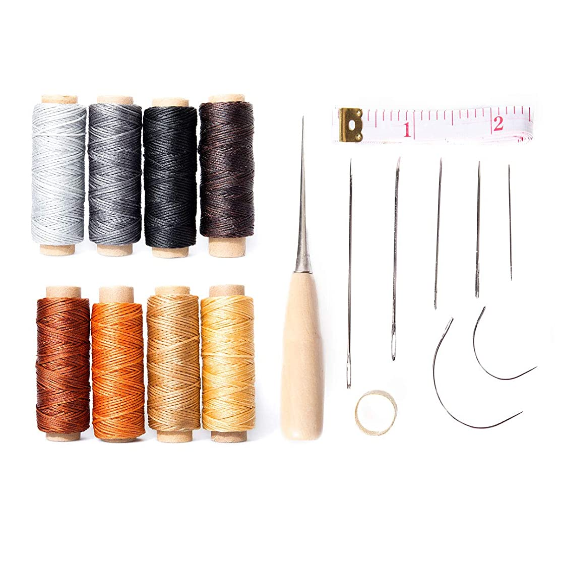 18pcs Waxed Thread with Hand Sewing Needles Kit and Drilling Awl Thimble 150D 1mm Hand Stitching Cord for Leather Craft DIY (18 pcs Sewing Needles Kit)