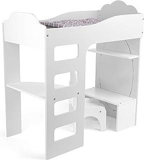 Legler Small Foot 12025 Lit Mezzanine en Bois avec Parure de lit, Bureau, Chaise et Miroir pour Enfants à partir de 3 Ans Jouet Multicolore