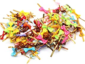 Assorted Colors Bow Twist Tie for Bakery Candy Lollipop Cello Bag Gifts Packgae (100)