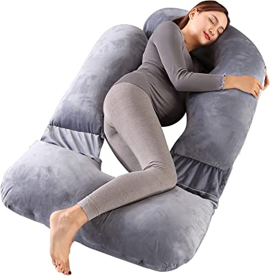 BATTOP Pregnancy Pillow Full Body Maternity Pillow for Sleeping with Removable Washable Cover, Support for Back, Hips, Legs, Belly for Pregnant Women (Velvet-Grey)