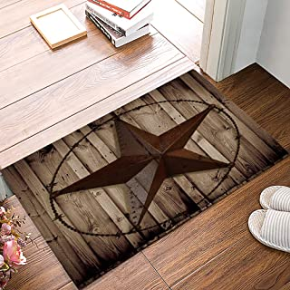 Arts Language Funny Doormats for Entrance Way Indoor Front Door Welcome Rugs Western Texas Star Rustic Wood Grain Printed Non-Slip Bath Mat Kitchen Mat Floor Carpet for Bedroom/Office 18x30inch