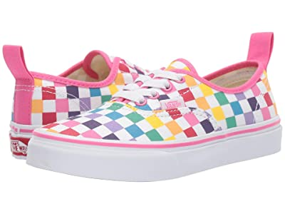 Vans Kids Authentic Elastic Lace (Little Kid/Big Kid) ((Checkerboard) Rainbow/True White) Girls Shoes