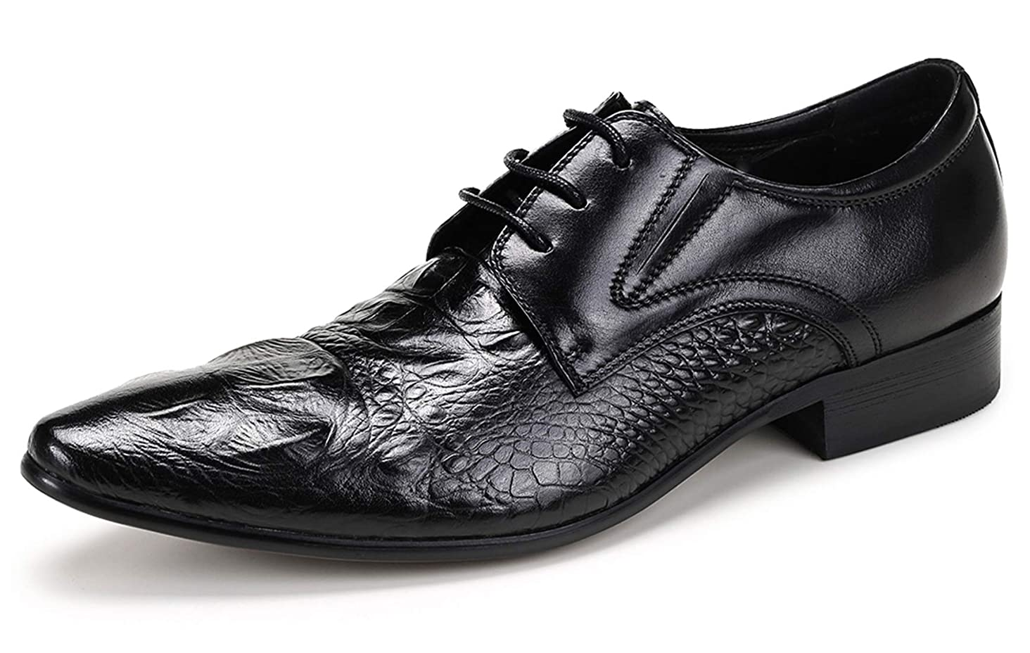 Mens Dress Shoes Leather Oxford for Men Novelty Lace Up Fashion Pointed-Toe Formal Derby Shoes