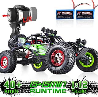 Soyee RC Cars 1:12 Scale RTR 40km/h High Speed Remote Control Car All Terrain Hobby Grade 4WD Off-Road Waterproof Monster Truck Electric Toys for Boys and Adults -1500mAh Batteries x2