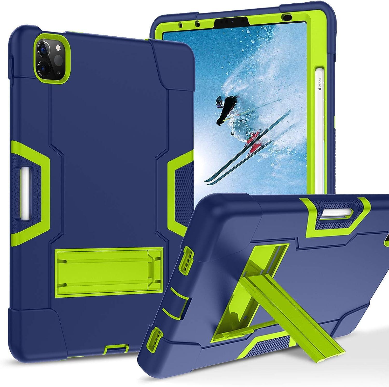 KANGYA iPad Air 4 Case 10.9 Inch 2020, iPad Pro 11 Case 2018/2020, Heavy Duty Shockproof Kickstand Three Layer Hybrid Protective Case for iPad Air 4th Generation/iPad Pro 11 inch, Navy Blue/Green