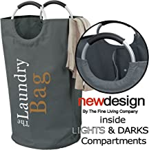 The Fine Living Co USA - Two Section Lights and Darks Laundry Hamper Bag - Large Capacity Washing Basket - Collapsible Fab...