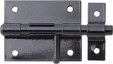 GAH-Alberts 137281 boutgrendel   met ronde greep en bevestigde lus   zwarte kunststof coating   plaat 70 x 57 mm   bout-⌀ ...