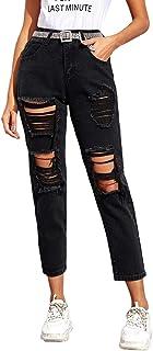 Women's Ripped Boyfriend Jeans Distressed Denim Ankle Length Jeans