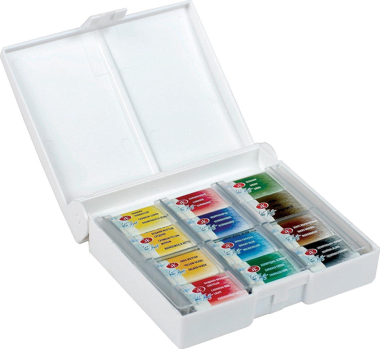 White Night Artists Watercolour Set 12 Whole Pans, Plastic Box