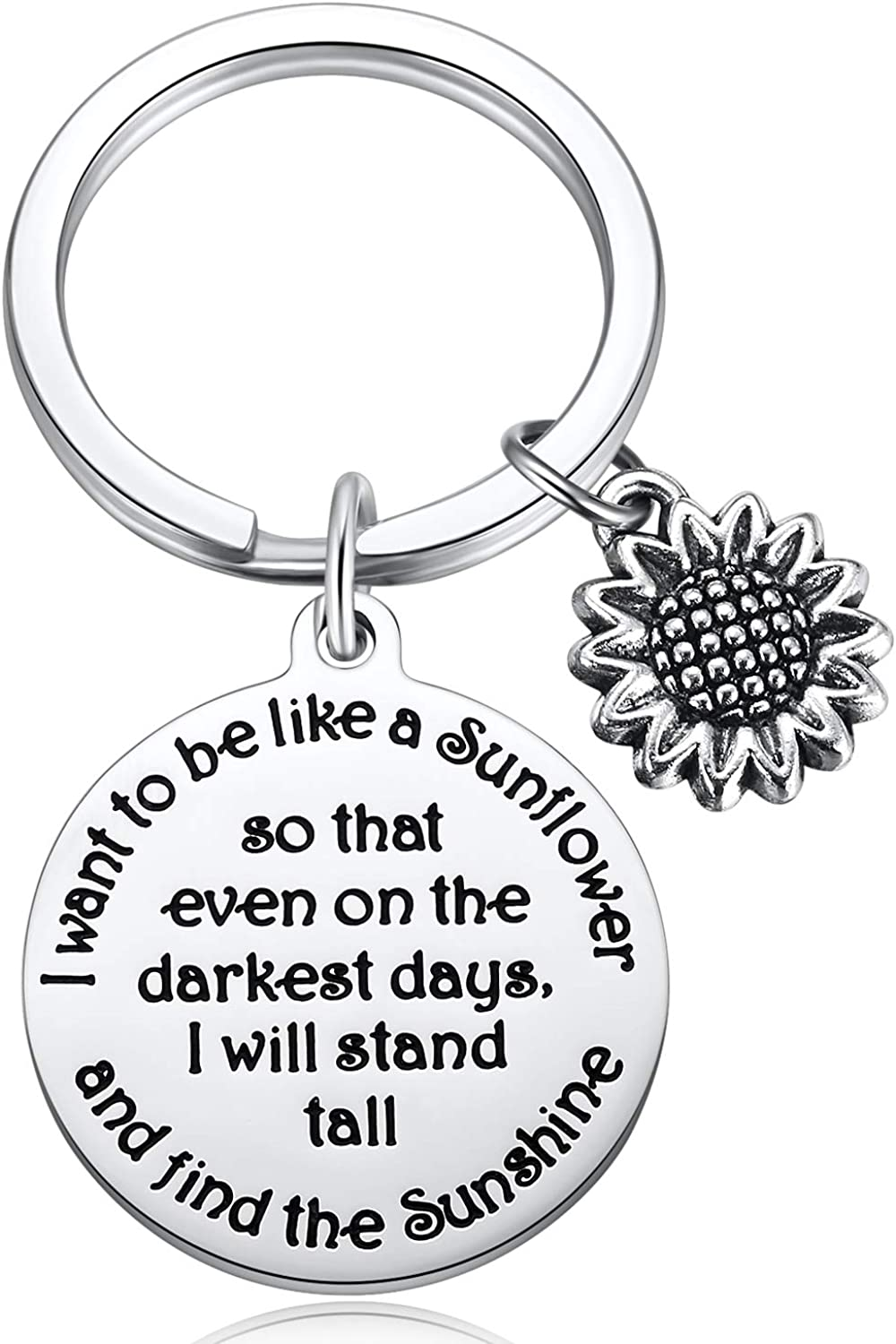 MIXJOY Sunflower Charm Keychain I Want to be Like a Sunflower Floral Key Chain Spiritual Gifts for Women