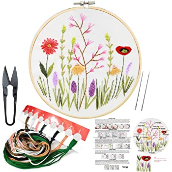 4 Landscape Pattern Moosth Hand Embroidery Kit for Beginners 4 Patterns Starter Kits for Adults with Floss Hoop Needles Cloth 13 x 13
