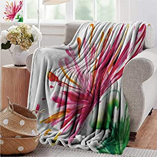 PearlRolan Travel Throw Blanket,Watercolor Flower,Opened Out Asiatic Oriental Lily Freesia Florets Work of Art Print,Fuchsia Green,Super Soft and Warm,Durable Throw Blanket 60
