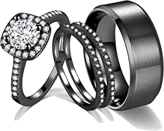 Ahloe Jewelry 2Ct 18k Black Gold Wedding Ring Sets for Women and Men Hers His Titanium Bands Stainless Steel Couple Rings Cz