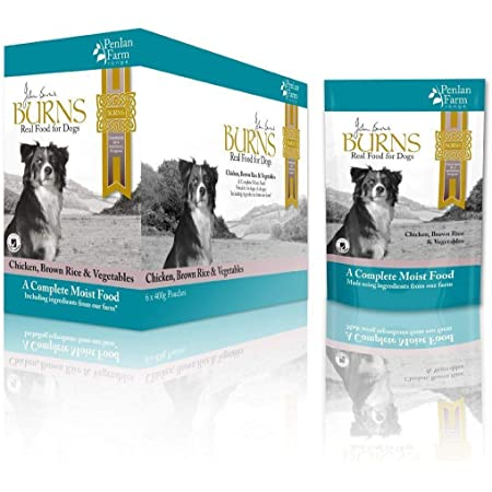 Burns Moist Food Penlan Chicken, Brown Rice and Vegetables for Dogs of all Ages 24 x 400g Pouches (4 Boxes) - Bulk Buy save postage.