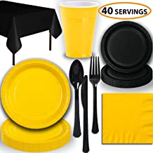 birthday parties festivals 9 Dinner Paper Plates 3 Ply Napkins Complete Party Pack 7 Dessert Paper Plates 9 oz Cups Yellow Party Theme Yellow Serves 50 office parties