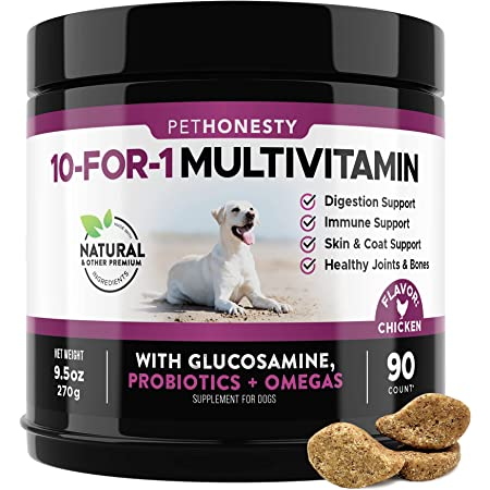 PetHonesty 10 in 1 Dog Multivitamin with Glucosamine - Essential Dog Vitamins with Glucosamine Chondroitin, Probiotics and Omega Fish Oil for Dogs Overall Health - Vitamins for Joint Supplement Heart