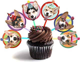 Corgis Cupcake Toppers, set of 6 different birthday dogs party decorations