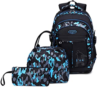 Kids Boys Backpacks Elementary School Camouflage Bookbag 3pcs Set with Lunch Bag (Blue)