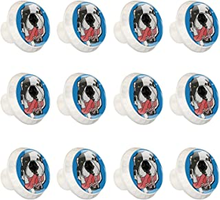 12 Pcs 35MM Crystal Glass Cabinet Dresser Knobs Cute Petey Dog Welcome Circle Shape Drawer Pulls Knobs with Screws for Hom...