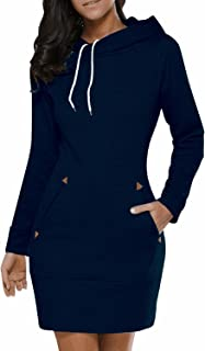 Women's Long Sleeve Cotton Slim Fit Midi Hoodie Dress with Pocket S-5XL