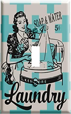 Mid Century Retro Soap and Water Laundry Room Switch Plate Cover