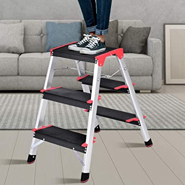 Giantex Aluminum Step Ladder, Lightweight Folding Non-Slip 3 Step Stool 330lbs Capacity Wide Pedal for Household Work Use