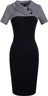 HOMEYEE Women's Retro Colorblock Lapel Career Tunic Dress B238