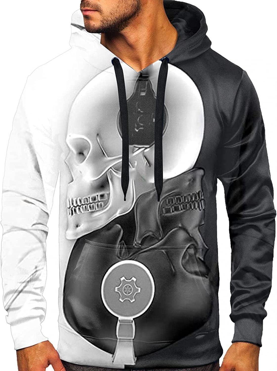 Aayomet Shirts for Men Fashion Halloween Printed Pullover Color Splice Shirts Patchwork Long Sleeve Casual Hoodies