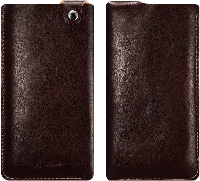 Cellphone Leather Sleeve, Icarercase Genuine Vertical Leather Belt Case Clip Holster Pouch Carrying Case for iPhone and 4.7 Inch Mobile Phones (4.7 Inch - Coffee)