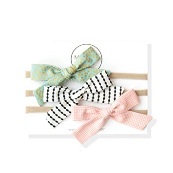 Set of 3 nylon headbands assorted bows and patterns
