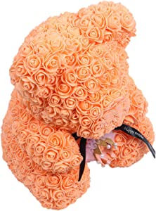 Shumo 40Cm Teddy Bear With In Gift Box Bear Of Roses Artificial Flower New Year Gifts For Women Valentines Gift Orange