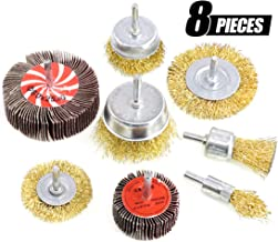 Swpeet 8Pcs Brass Coated Wire Brush Wheel & Cup Brush Set and Abrasive Flap Wheel With 1/4-Inch Shank, Coated Wire Drill Brush Set Perfect for Removal of Rust/Corrosion/Paint - Reduced Wire Breakage