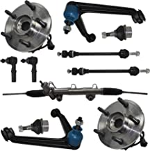 Detroit Axle - 11pc Power Steering Rack and Pinion, Front Wheel Hub Bearing and Upper Control Arm Suspension Kit for 2002 2003 2004 2005 Dodge Ram 1500 4x4 5-Lug w/ABS NO Extended Crew Cab Models