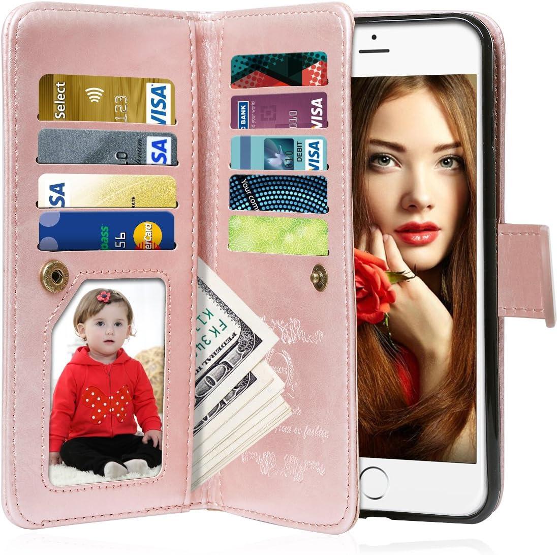 Vofolen for iPhone 6S Case Wallet, iPhone 6 Case Card Holder Folio Flip PU Leather Case Magnetic Detachable Slim Back Cover Hard Case Card Holder Slot Pocket Wrist Strap for iPhone 6 6S Rose Gold