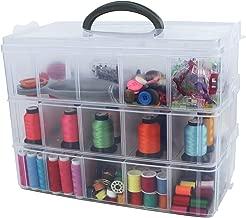 Thread Needles Mind Reader WSEWBOX-BRN Sewing Box Organizer Scissors Wood Brown
