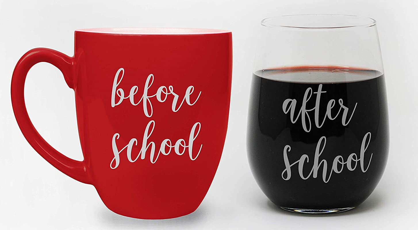 Before School Coffee Mug And After School Wine Glass Funny Gifts For Teachers