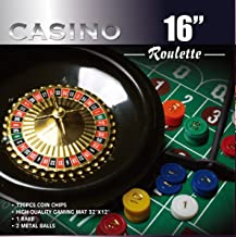 CASINO 16-Inch Roulette Wheel Game Set with 120 chips, Felt Layout, and Rake
