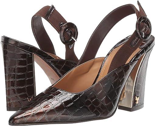 Dark Brown Croco Patent
