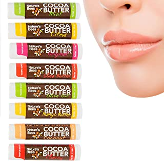Nature's Bees (8 Count, 8 Flavors) Cocoa Butter Flavored Lip Balm Tubes Set Bulk Assortment Natural Chap Treatment Moisturizer For Very Dry Lips