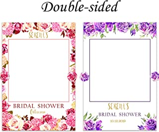 Bridal Shower Selfie Frame Personalized Wedding Photo Booth Frame Flower Bridal Shower Photo Booth Prop Wedding shower Bachelorette Handmade Party Supply Photo Booth Props 48x36 Sizes 36x24