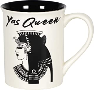 Enesco 6005711 Our Name is Mud Yas Queen Cleopatra History Coffee Mug, 16 Ounce, Black and White