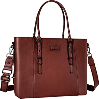 MOSISO PU Leather Laptop Tote Bag for Women (Up to 17.3 inch), Brown