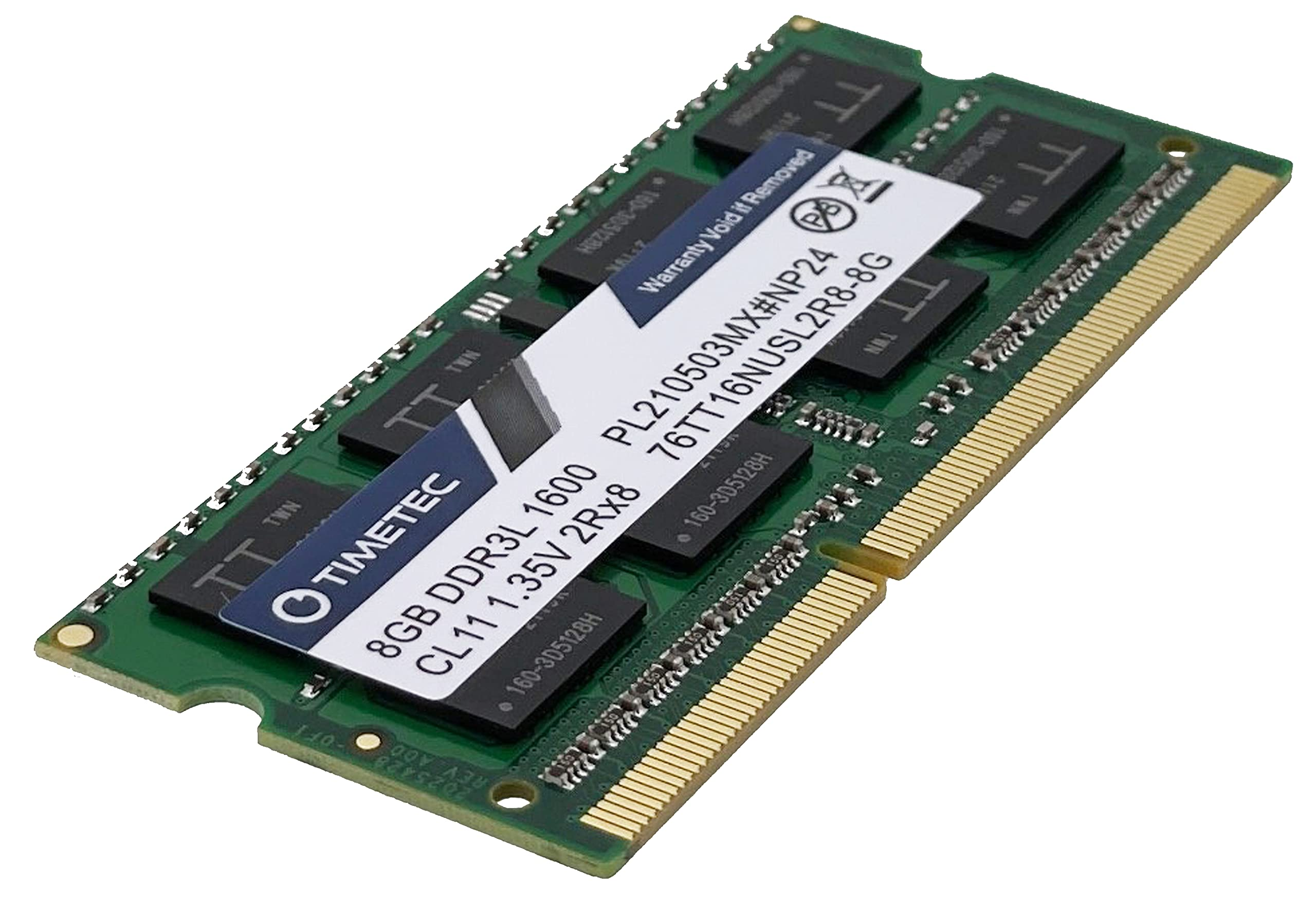 Timetec 8GB DDR3L / DDR3 1600MHz (DDR3L-1600) PC3L-12800 / PC3-12800(PC3L-12800S) Non-ECC Unbuffered 1.35V/1.5V CL11 2Rx8 Dual Rank 204 Pin SODIMM Laptop Notebook PC Computer Memory RAM Module Upgrade