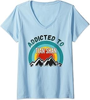 Femme Addicté aux montagnes de Tian Shan T-Shirt avec Col en V