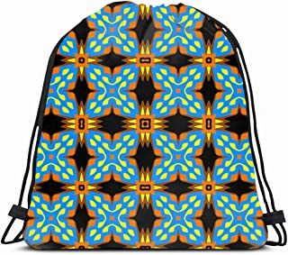 Ahawoso Gym Drawstring Bags Backpack String Bag 14X16 Ornate Smooth Colorful Puzzles Badge Abstract Geometric Pattern Beauty Border Color Contrast Elegant Sport Sackpack Hiking Yoga Travel Beach